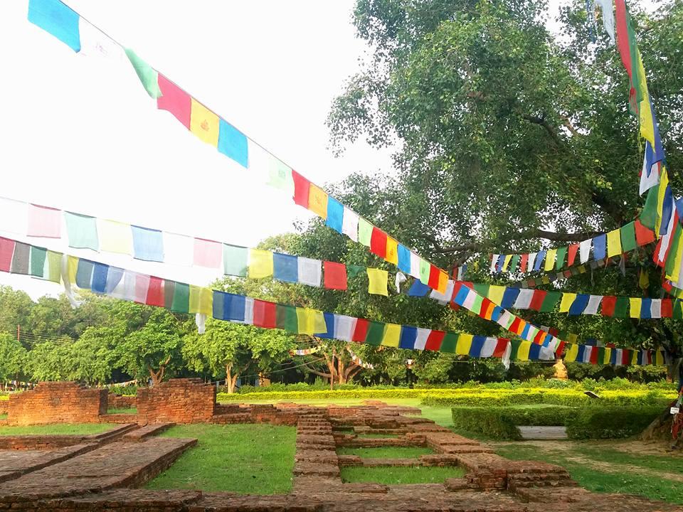 prayer flags lumbini nepal 10-day Buddhist Vipassana Retreat Julie Jewels Bertrand